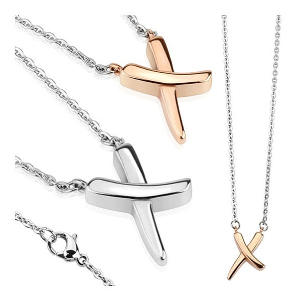 X Shaped Stainless Steel Pendant with Chain Necklace 23.6 Inches (7.8 mm) - 24 in
