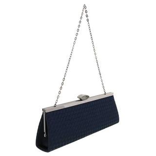 Scheilan Navy Blue Fabric Weave Clutch/Shoulder Bag