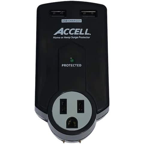 ACCELL Home or Away Power Station 3-Outlet Travel Surge Protector Blac