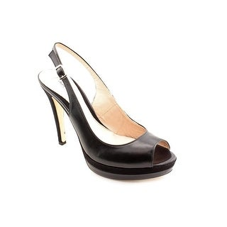 Charles By Charles David Shelby Women Peep-Toe Leather Black Slingback Heel