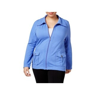 Karen Scott Womens Plus Track Jacket wing Collar Long Sleeves
