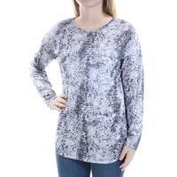 VINCE CAMUTO Womens Black Animal Print Long Sleeve Jewel Neck Top  Size: S
