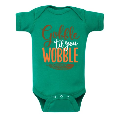 Gobble Til You Wobble Feather - Infant One Piece