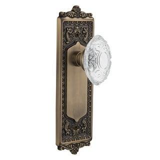 """Nostalgic Warehouse EADCVI_PRV_234_NK  Vintage Crystal Victorian Privacy Door Knob Set with Egg & Dart Rose and 2-3/4"""" Backset"""