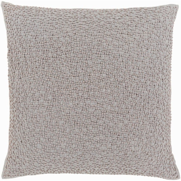 "20"" Storm and Cloud Gray Woven Decorative Throw Pillow– Down Filler"