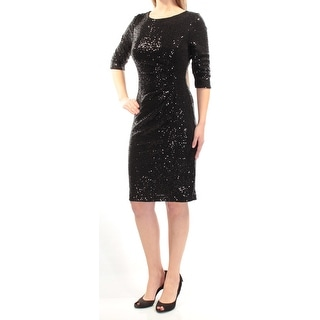 VINCE CAMUTO $148 Womens New 1144 Black Sequined Ruched 3/4 Sleeve Dress 8 B