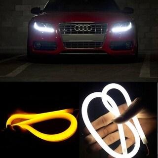 AGPtek 2Pcs 12V White + Amber Tube Switchback Headlight LED Strip DRL Daytime Light For Audi-Style - 60 CM