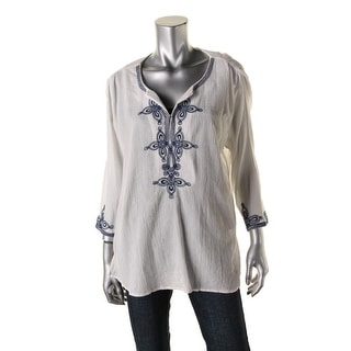 Beach Lunch Lounge Womens Chantal Embroidered Gauze Tunic Top