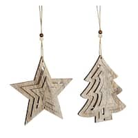Club Pack of 12 Brown Distressed Christmas Tree and Star Ornaments 12""