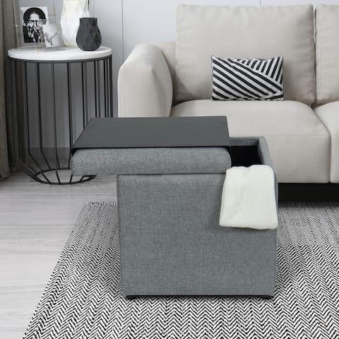 Kotter Home Heathered Grey Tray Top Storage Ottoman