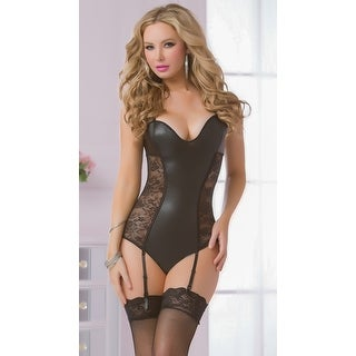 Strappy Black Gartered Teddy, Lace And Mesh Teddy