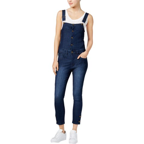 Rachel Roy Womens Cropped Overall Jeans