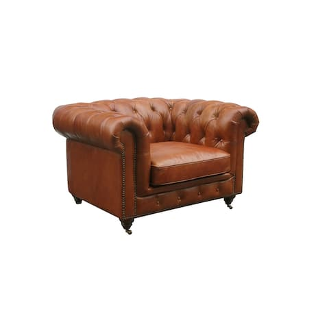 Pasargad Home Genuine Leather Chester Bay Tufted Loveseat, Sofa or Chair