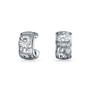 Bling Jewelry 925 Sterling Silver Engraved Flower Leaves Band Ear Cuff Pair