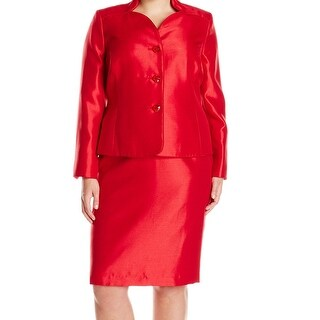 Le Suit NEW Red Women's Size 22W Plus Shimmer Three Button Skirt Suit