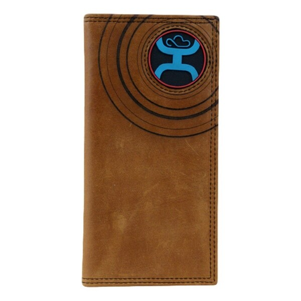 HOOey Western Wallet Mens Circular Rodeo Signature Chestnut - 3 1/2 x 3/4 x 7