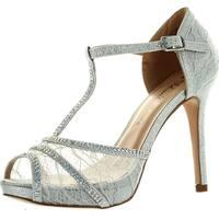 De Blossom Womens Barbara-21 Fashion T-Strap Lace Dress Party Pumps Shoes - Silver