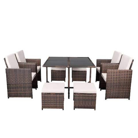 Brown 9PCS Patio Rattan Wicker Furniture Outdoor Dining Set with Cushion