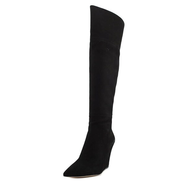 Pour La Victoire Serraks Women Pointed Toe Suede Black Over the Knee Boot