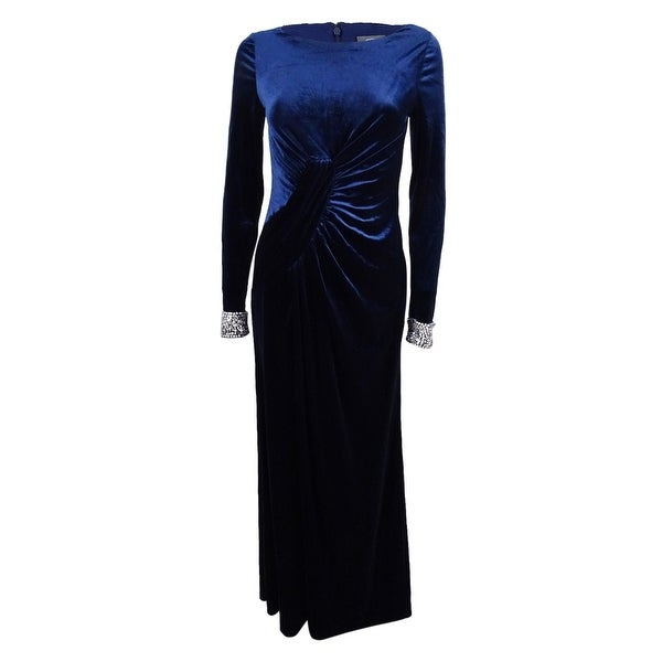 b641b2dd Shop Vince Camuto Women's Velvet Embellished-Cuff Gown - Navy - On Sale -  Free Shipping Today - Overstock - 21546949