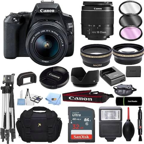 Canon EOS 250D / Rebel SL3 DSLR Camera with 18-55mm Lens Accessory Bundle - Black