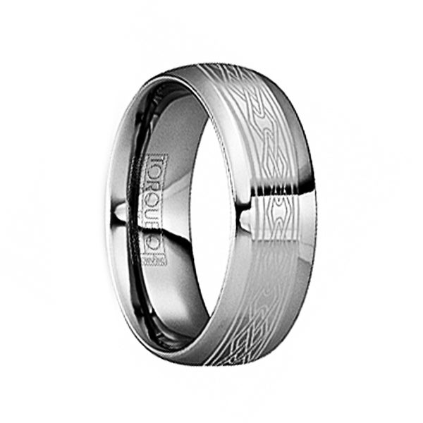 FLORIANUS Tungsten Wedding Ring with Engraved Celtic Design & Polished Finish by Crown Ring - 6mm