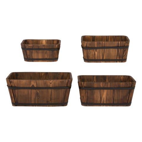 Shine Company Rectangular Cedar Barrel, Set of 4, Burnt Brown
