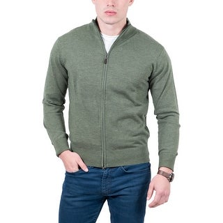 Real Cashmere Olive Fine Knit Full Zip Cardigan