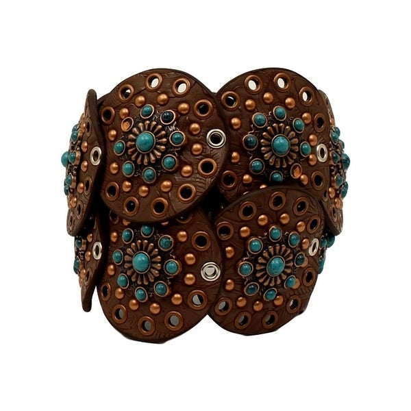 Nocona Western Belt Womens Wide Disk Conchos Floral Brown