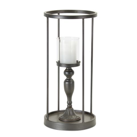 19.75 Black and Clear Glass with Iron Candle Holder