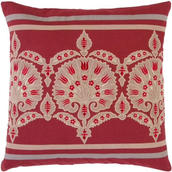 """18"""" Scarlet Red and Sand Fanciful Floral Square Throw Pillow with Knife Edge"""