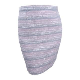 Tahari Women's Petite Striped Tweed Pencil Skirt (12P, Pink/Grey) - Pink/Grey - 12P