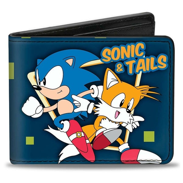Sonic Classic Sonic & Tails Poses Squares Blue Green Orange Bi Fold Wallet - One Size Fits most