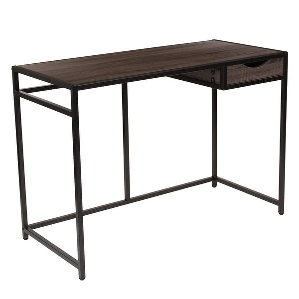Driftwood Finish Computer Desk with Pull-Out Drawer and Metal Frame. Opens flyout.