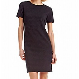 Michael Kors NEW Black Womens Size XS Textured Short Sleeve Shift Dress