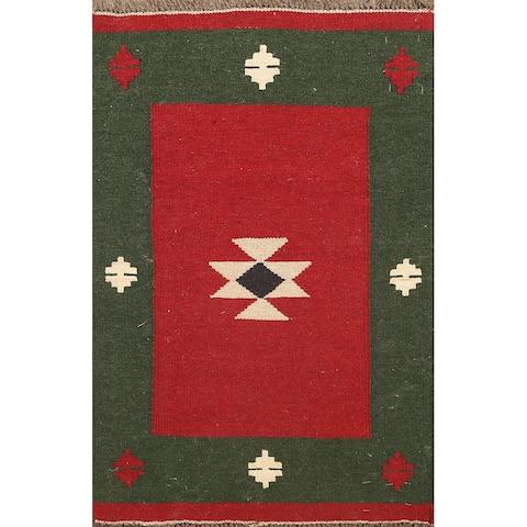"Tribal Kilim Shiraz Persian Area Rug Wool Flat-woven Office Carpet - 2'0"" x 2'11"""
