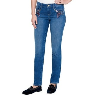 Tommy Hilfiger Womens Embroidered Mid-Rise Straight Leg Jeans