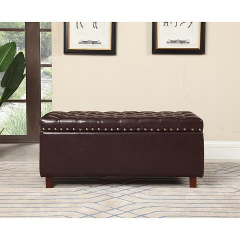Bonded Leather Storage Ottoman Bench, Brown