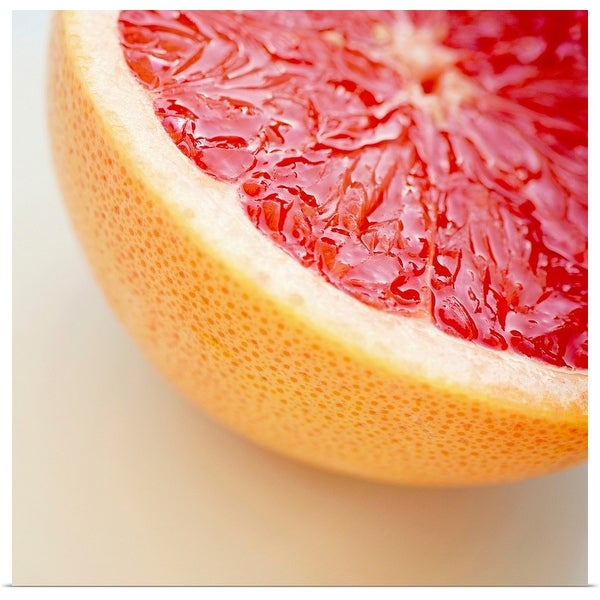 """Close up of halved pink grapefruit."" Poster Print"
