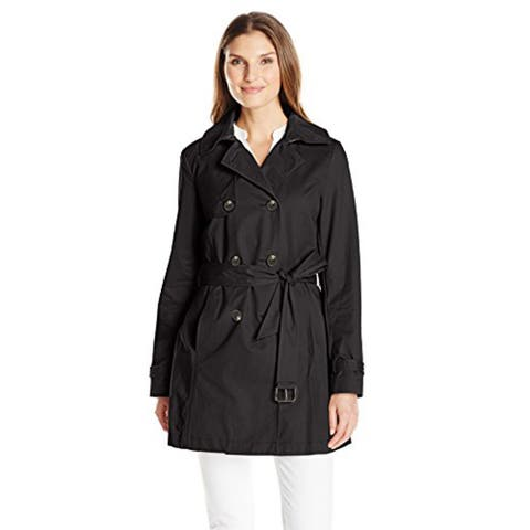 T Tahari Womens Fit and Flare Trench with Eyelit Back, Black, Large