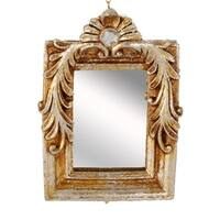 "4.75"" Distressed-Finish Antique Gold Glitter Square Mirror with Scroll Accents Christmas Ornament"