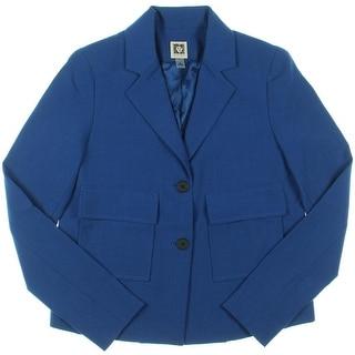 Anne Klein Womens Notch Collar Pocket Two-Button Blazer