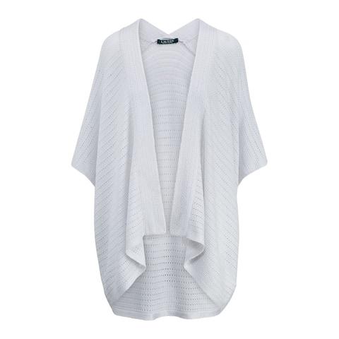 RALPH LAUREN Womens Silver Kimono Sleeve Open Cardigan Top Size L