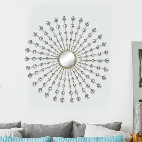 ADECO Metal Diamond Pearl Drop Wall Decor with Mirror - Medium