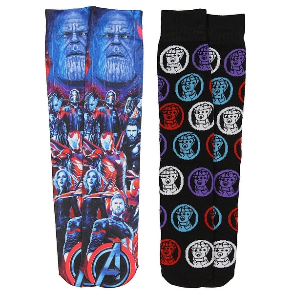 Marvel Avengers Infinity War Thanos Gauntlet And Photoreal Casual Crew Socks