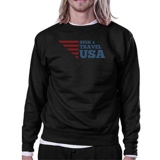 Seek & Travel USA Unisex Graphic Sweatshirt Black Round Neck Fleece