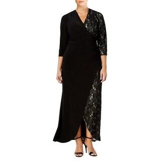 R&M Richards Plus Size Lace Contrast Faux Wrap 3/4 Sleeve Gown Dress - 14W