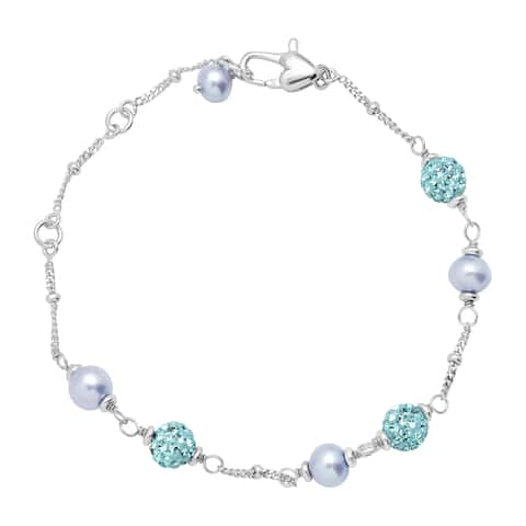 Girl's Blue Freshwater Pearl Bracelet with Crystals in Sterling Silver