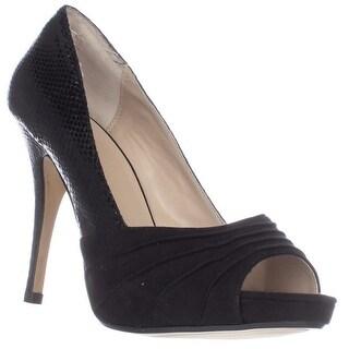 TS35 Marissa Peep Toe Platform Heels, Black Snake