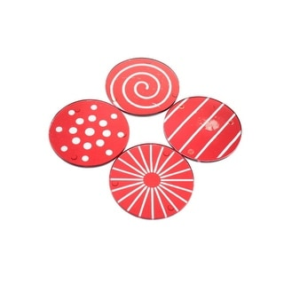 Mikasa Cheers Ruby Glass Christmas Coasters